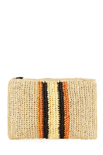 Warehouse, SLOUCHY STRAW CLUTCH BAG Beige 0