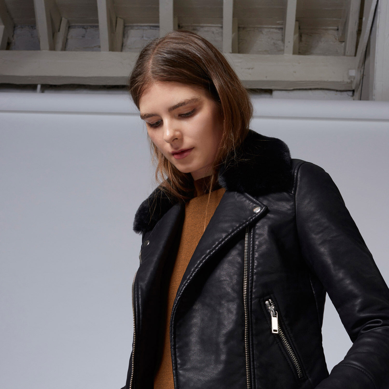 Warehouse, Faux Fur Collar Biker Jacket Black 1