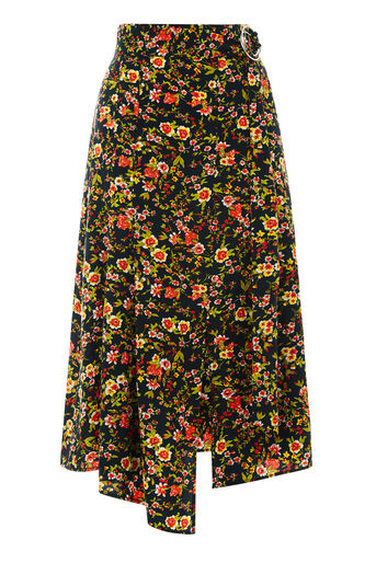 Warehouse, SIDNEY FLORAL SKIRT Black Pattern 0