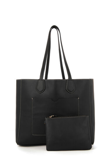 Warehouse, STITCH DETAIL SHOPPER BAG Black 0