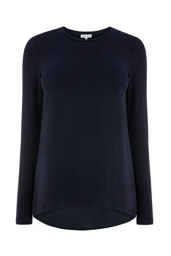 Warehouse, PLEAT BACK WOVEN MIX TOP Navy 0