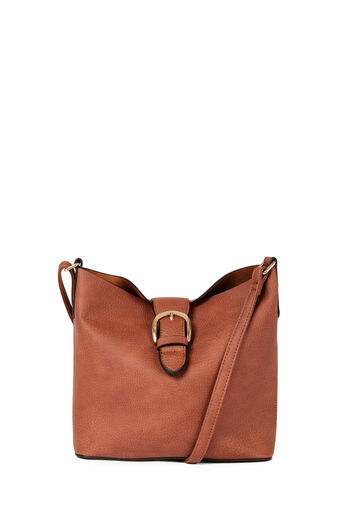 Warehouse, BUCKLE TAB CROSSBODY BAG Tan 0