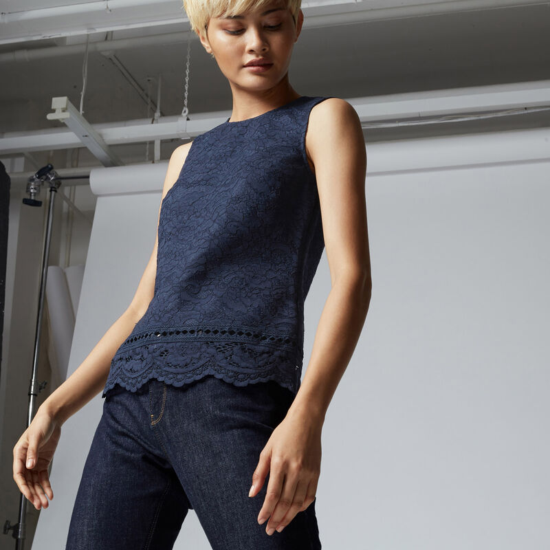 Warehouse, BONDED LACE SHELL TOP Navy 1