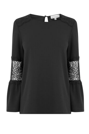 Warehouse, LACE INSERT CREPE TOP Black 0