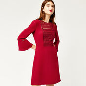Warehouse, LACE FRONT FLUTED SLEEVE DRESS Dark Red 3