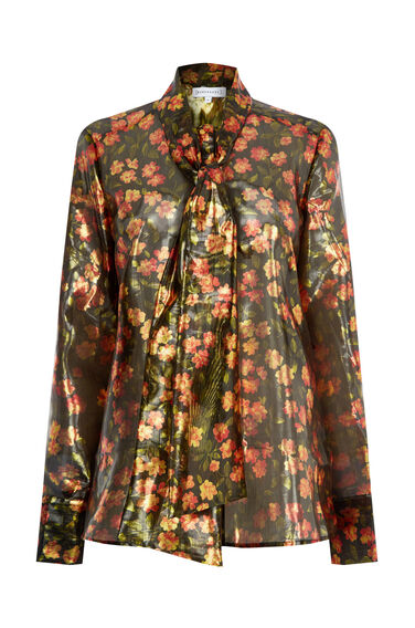 Warehouse, CHERRY BLOSSOM LAMÉ BLOUSE Gold Colour 0