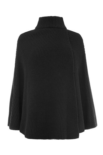 Warehouse, RIBBED PONCHO Black 0