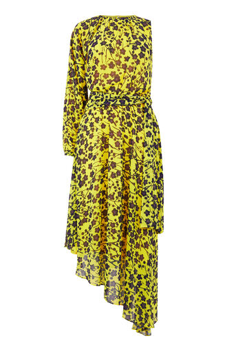 Warehouse, KYOTO FLORAL ONE SLEEVE DRESS Yellow 0