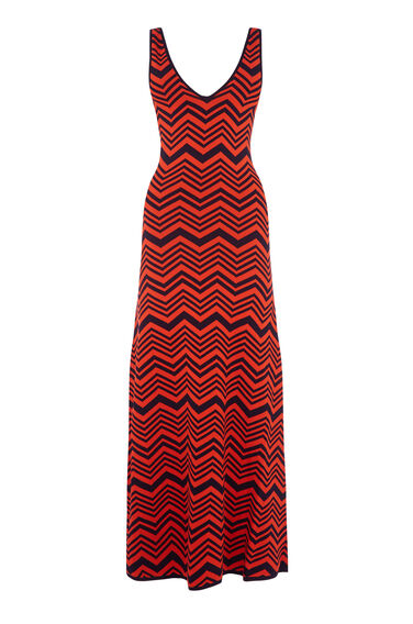 Warehouse, CHEVRON MAXI DRESS Red Stripe 0