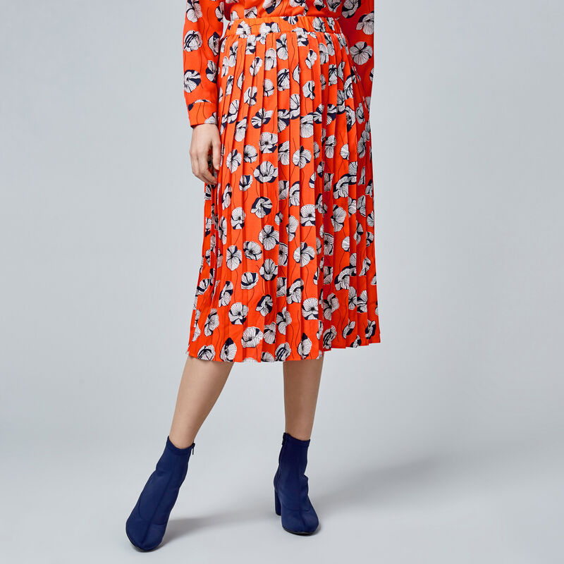Warehouse, FLOATING FLORAL SKIRT Orange 1