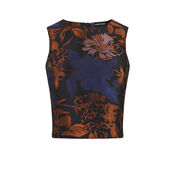 Warehouse, FLORAL JACQUARD TOP Black Pattern 0