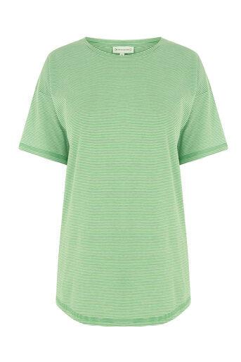 Warehouse, CASUAL STRIPE TEE Green Stripe 0