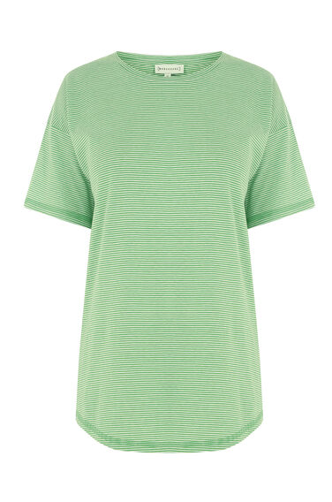 Warehouse, CASUAL STRIPE TEE Green Stripe 0