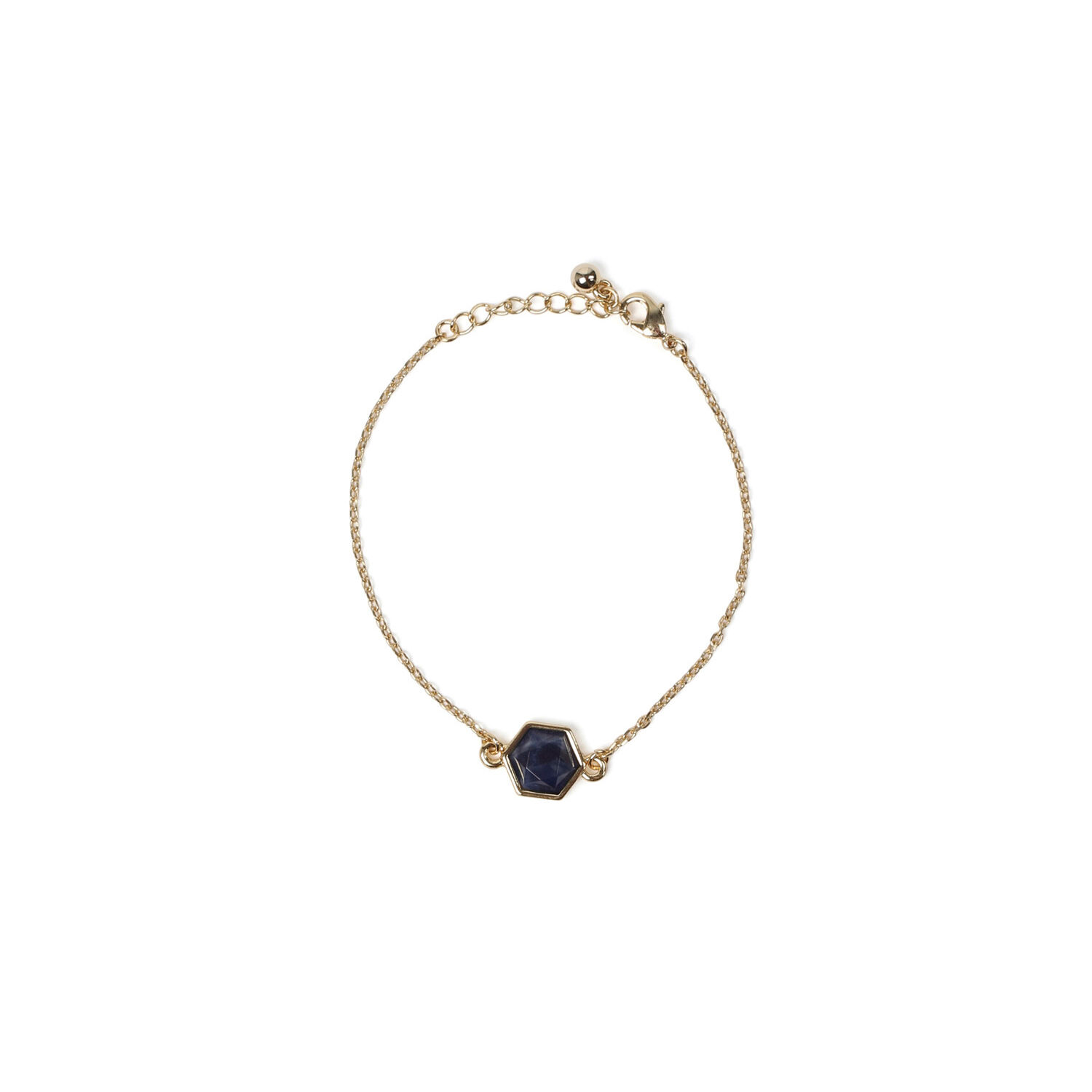 Warehouse, SEMI PRECIOUS HEXAGON BRACELET Gold Colour 1