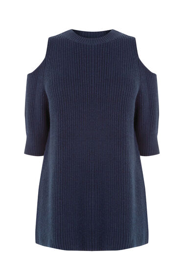 Warehouse, COLD SHOULDER JUMPER Navy 0