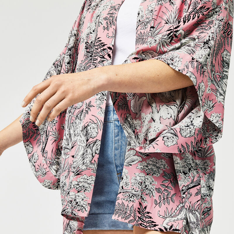 Warehouse, TIGER PRINTED KIMONO Light Pink 1