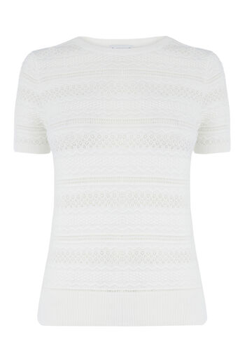 Warehouse, PRETTY STITCH KNITTED TOP Cream 0