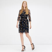 Warehouse, Embroidered And Sequin Dress Navy 2