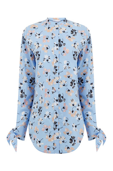 Warehouse, DANDY FLOWER POPLIN SHIRT Light Blue 0