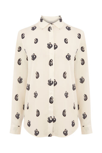 Warehouse, SWAN PRINT SHIRT Cream 0