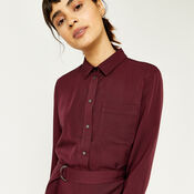 Warehouse, POPPER BELTED SHIRT DRESS Dark Red 4