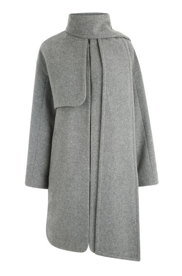 Warehouse, Scarf Cape Coat Light Grey 0