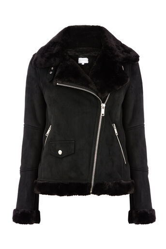 Warehouse, SUEDETTE BONDED BIKER JACKET Black 0
