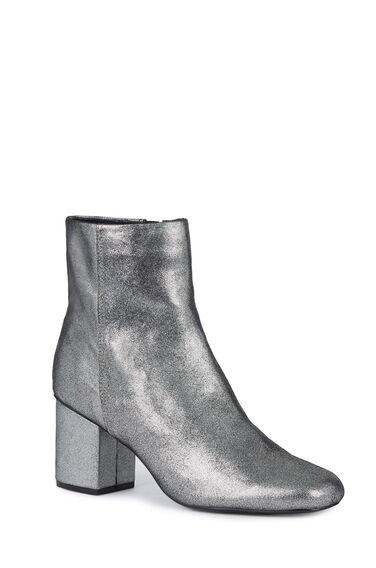 Warehouse, Square Toe Ankle Boot Pewter 0