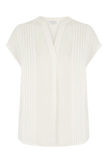 Warehouse, PINTUCK SHORT SLEEVE BLOUSE Cream 0