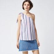 Warehouse, STRIPE TIE ONE SHOULDER TOP Pink Stripe 1