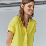 Warehouse, SATIN MIX BLOUSE Yellow 4