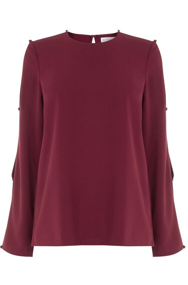Warehouse, DIAMANTE BUTTON SLEEVE TOP Berry 0