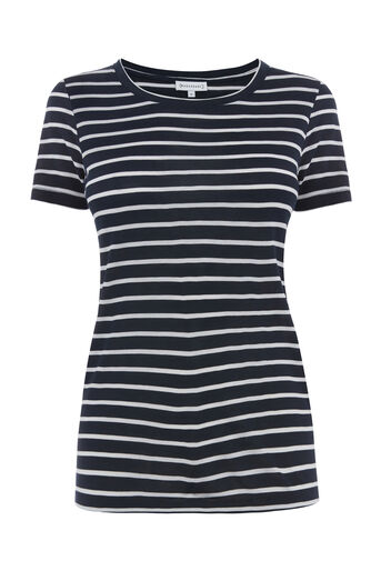 Warehouse, STRIPE SMART TEE Blue Stripe 0
