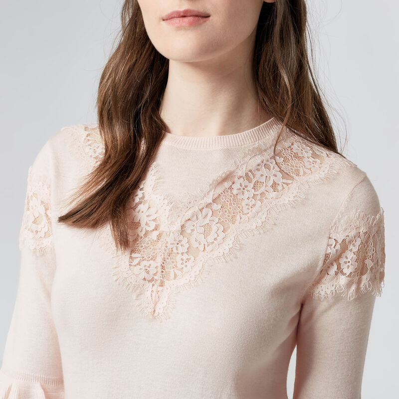 Warehouse, LACE INSERT FRILL CUFF JUMPER Light Pink 1