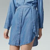 Warehouse, Step Hem Utility Shirt Dress Mid Wash Denim 4