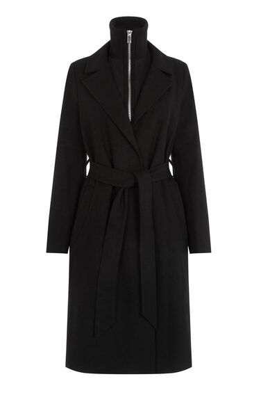 Warehouse, Rib Collar Coat Black 0