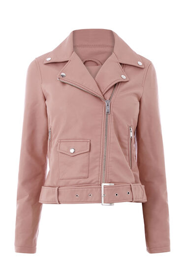 Warehouse, Faux Leather Crop Biker Jacket Bright Pink 0