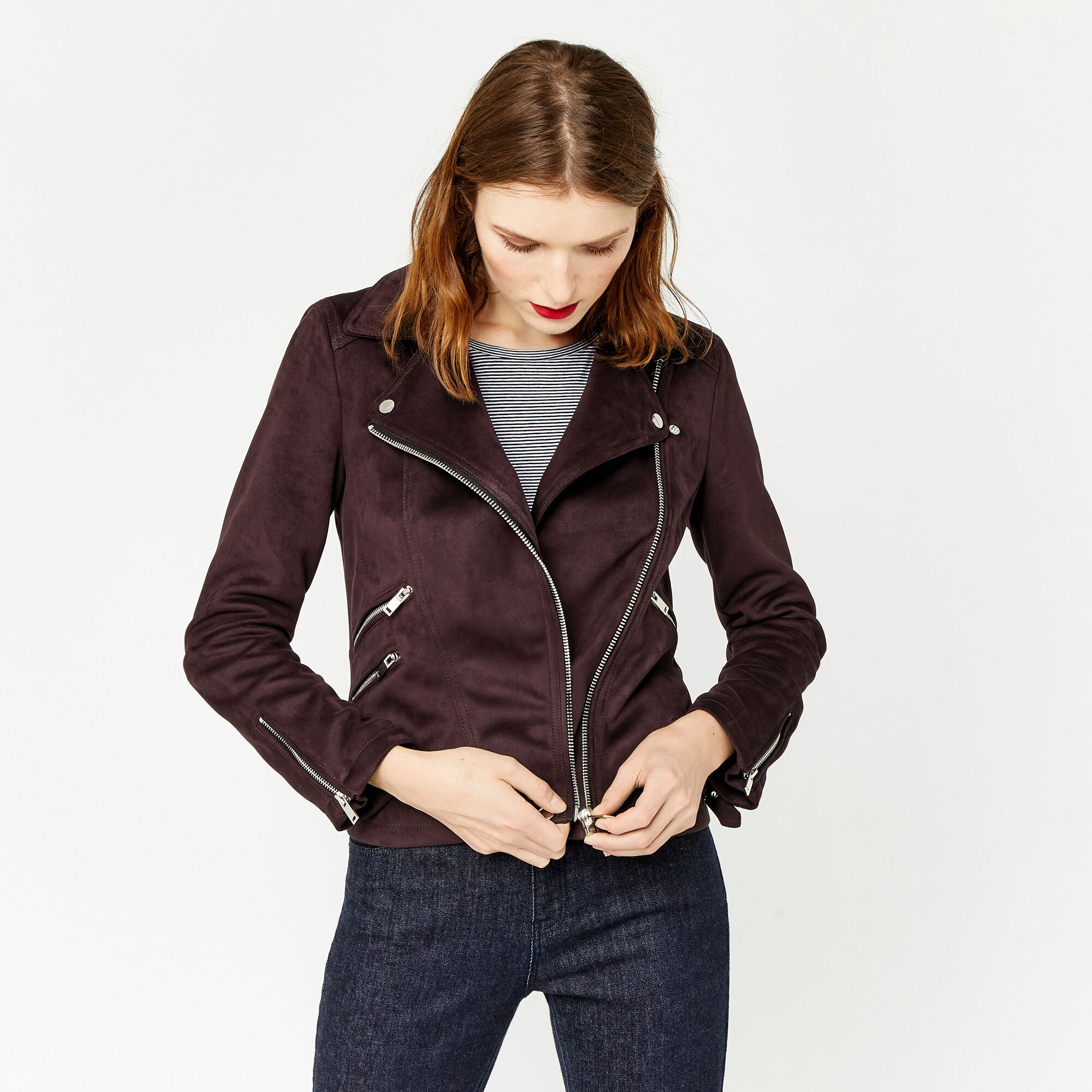 Warehouse, SUEDETTE BIKER JACKET Berry 1