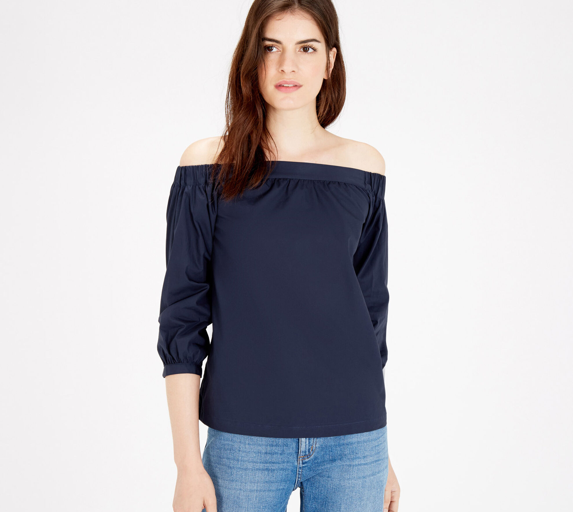 Warehouse, Cotton Off The Shoulder Top Navy 1