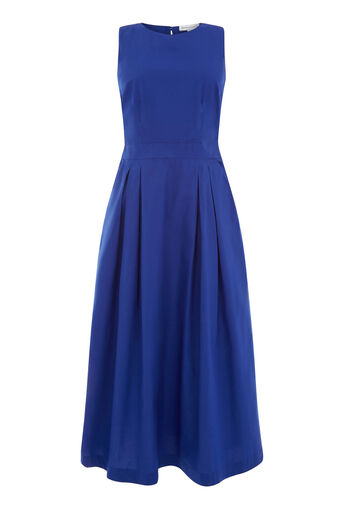Warehouse, OPEN BACK COTTON DRESS Bright Blue 0