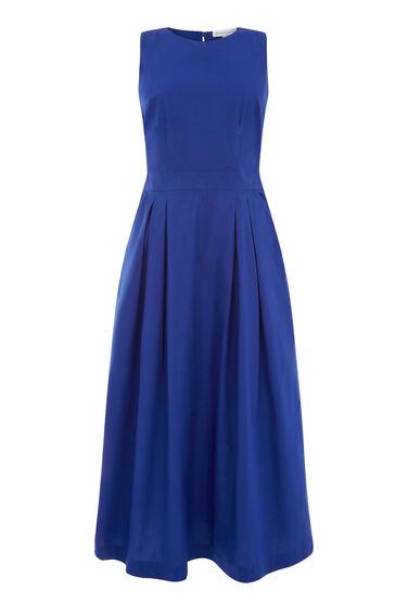 Warehouse, OPEN BACK COTTON DRESS Bright Blue 0