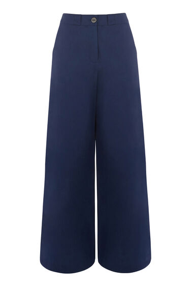 Warehouse, UTILITY WIDE LEG TROUSERS Navy 0