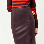 Warehouse, Faux Leather Pencil Skirt Dark Red 4