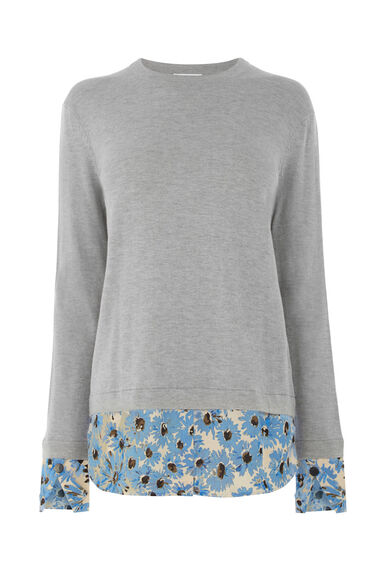 Warehouse, DAISY PRINT HYBRID JUMPER Light Grey 0