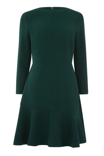 Warehouse, PEPLUM HEM LONG SLEEVE DRESS Dark Green 0