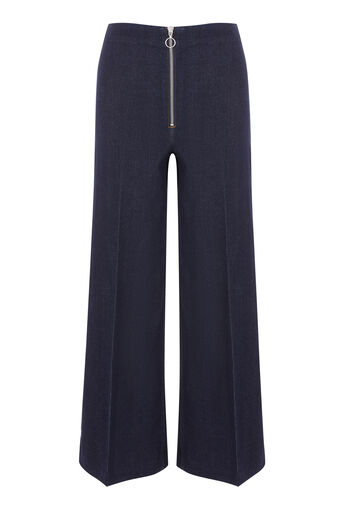 Warehouse, ZIP THROUGH WIDE LEG JEAN Indigo Denim 0