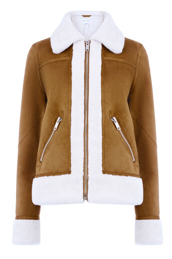 Warehouse, FAUX BORG ZIP THROUGH JACKET Tan 0
