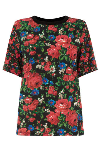 Warehouse, LUPITA ROSE WOVEN FRONT TEE Multi 0