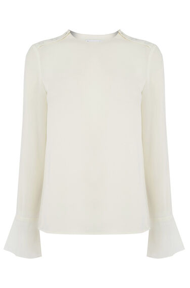 Warehouse, BUTTON SHOULDER TOP Cream 0