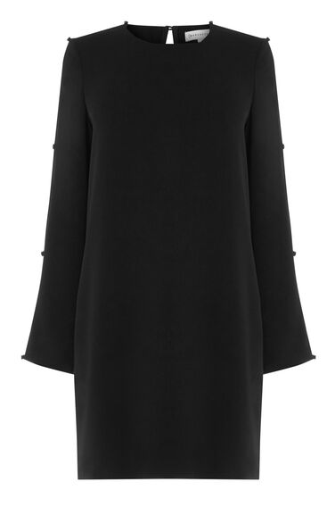 Warehouse, DIAMANTE BUTTON SLEEVE DRESS Black 0